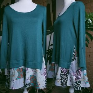 Anthro Little Yellow Button Green Floral Print Top